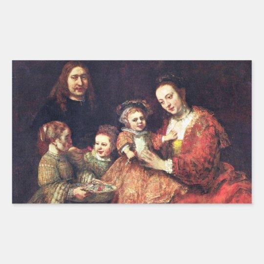 Family Portrait by Rembrandt Harmenszoon van Rijn Rectangular Sticker