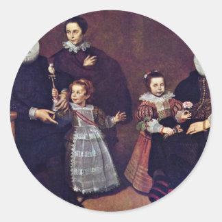 Family Portrait By Vos Cornelis De Round Stickers