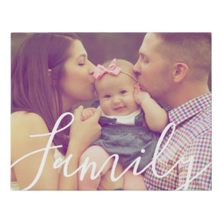 Family Portrait Canvas Photo Print and Text Option