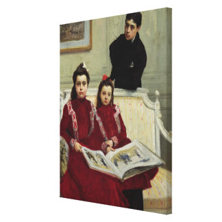 Family Portrait of a Boy and his Two Sisters, 1900 Canvas Print