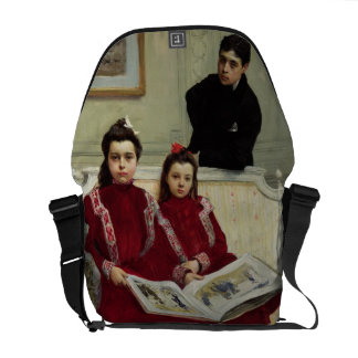 Family Portrait of a Boy and his Two Sisters, 1900 Messenger Bag