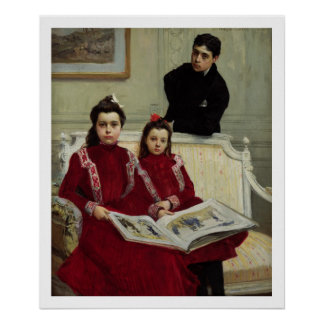 Family Portrait of a Boy and his Two Sisters, 1900 Poster