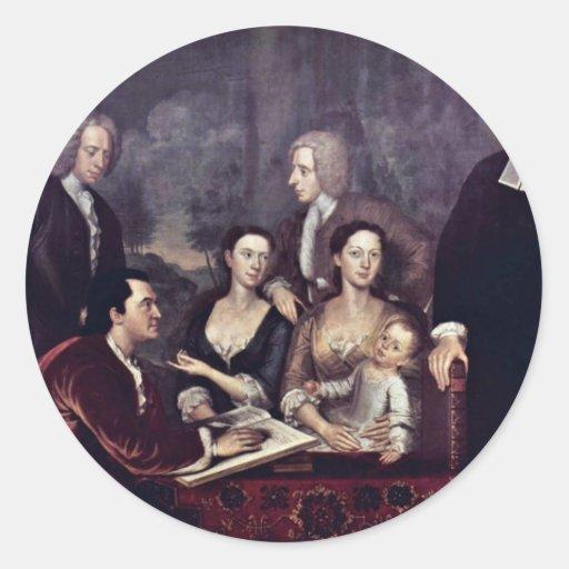 Family Portrait Of Dean George Berkeley By Smibert Classic Round Sticker