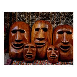 Family portrait of masks postcard
