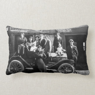 Family Portrait on the Family Car Vintage Lumbar Pillow