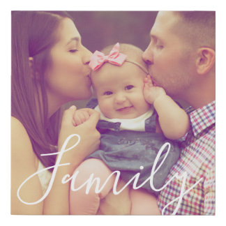 Family Portrait Photo Print Square and Text Option