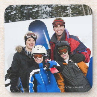 Family portrait with snowboards drink coaster