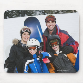 Family portrait with snowboards mouse pad