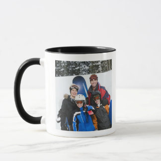 Family portrait with snowboards mug