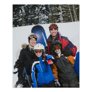 Family portrait with snowboards poster
