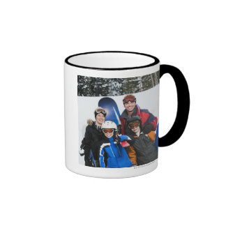 Family portrait with snowboards ringer mug