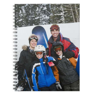 Family portrait with snowboards spiral notebook