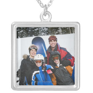 Family portrait with snowboards square pendant necklace