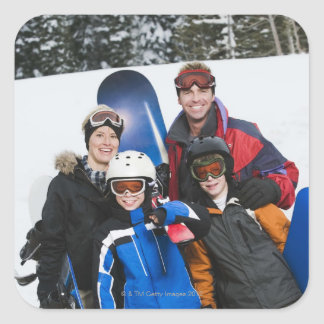 Family portrait with snowboards square sticker