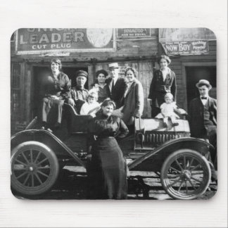 Family Portrait with Their Fine Automobile Mouse Pad