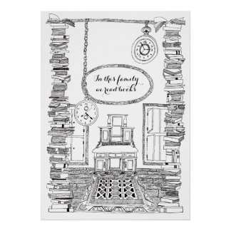 Family Poster: We read and love Books Poster
