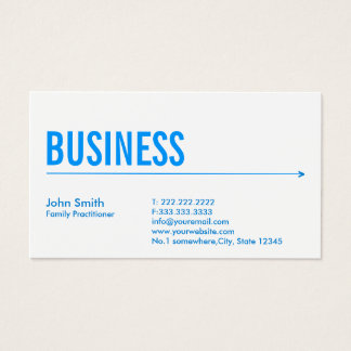 Family Practitioner Modern Blue Arrow Business Card