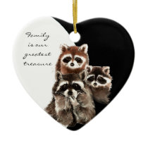 Family Quote Dated  Watercolor Raccoon Animal Ceramic Ornament