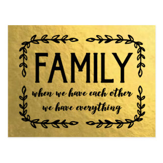 Family Quote on Gold Leaf Postcard