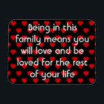 "Family Quote | Refrigerator Magnet<br><div class=""desc"">This Family Quote Refrigerator magnet is in black and white with red hearts border and is the perfect expression of love between parents and their children and grandchildren. Being in this family means you love and be loved for the rest of your life. Give one to your son or daughter...</div>"