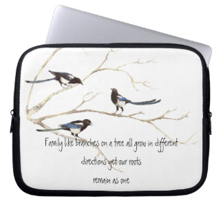 Family Quote with Magpie Family Watercolor Birds Computer Sleeve