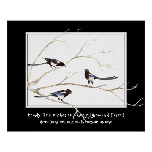Family Quote with Watercolor Magpie Bird Family Poster