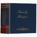 "Family Recipes Blue Plaid 2"" Photo Album 3 Ring Binder"