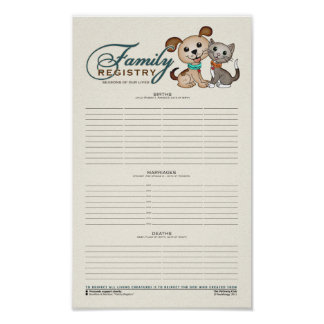 Family Registry [Ancestry, Lineage, Puppy, Kitty] Poster