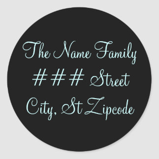 family return address label - personalize info classic round sticker