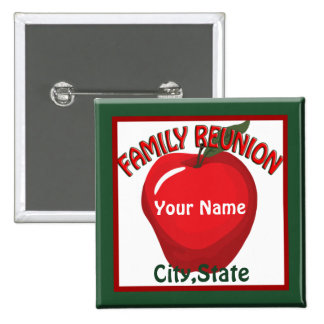 Family Reunion Apple Name Tag Button Pins