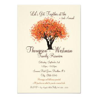 Family Reunion Autumn Tree 5x7 Paper Invitation Card