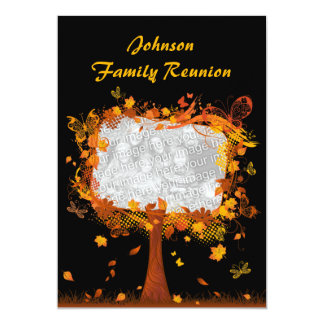 Family Reunion Autumn Tree Photo Frame 5x7 Paper Invitation Card