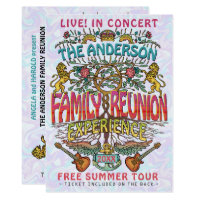 Family Reunion Band Concert Ticket Theme Retro 70s Invitation