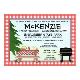 "Family Reunion Barbeque 5"" X 7"" Invitation Card"