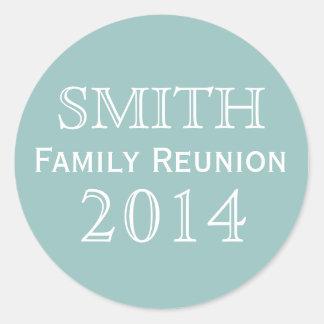 Family Reunion Blue Background Classic Round Sticker