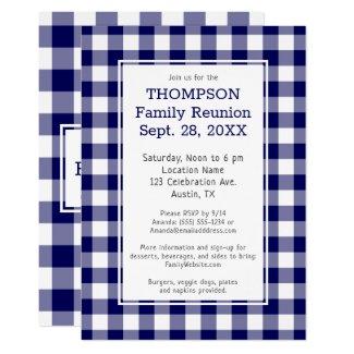 Family Reunion Blue White Buffalo Check Party Invitation