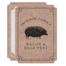 Family Reunion Brunch Rustic Farm Vintage Pig Card