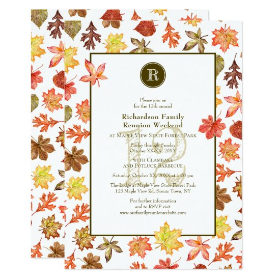 Family Reunion camping picnic autumn monogram Invitation
