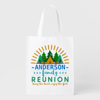 Family Reunion Camping Trip Forest | Custom Name Reusable Grocery Bag
