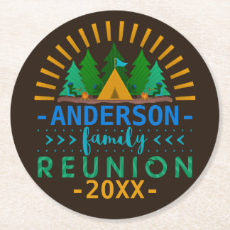 Family Reunion Camping Trip Party | Custom Name Round Paper Coaster
