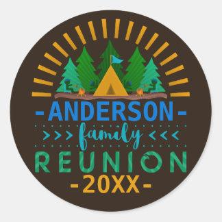 Family Reunion Camping Trip Woods | Custom Name Classic Round Sticker