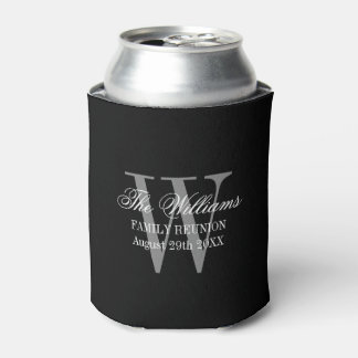 Family reunion can coolers with chic name monogram can cooler