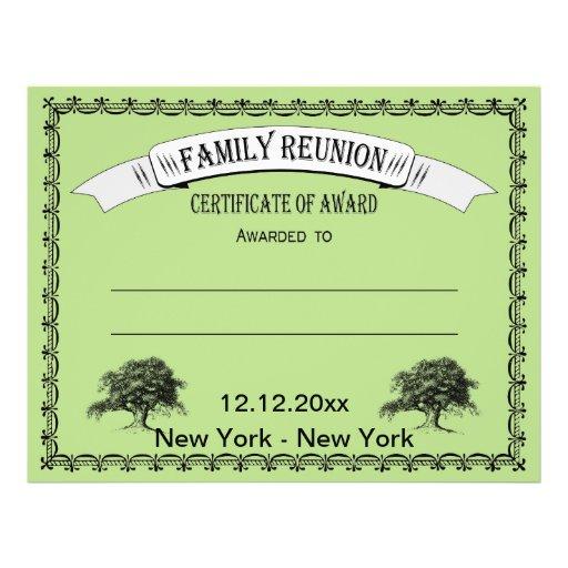 Family Reunion Certificate of Award Flyer | Zazzle