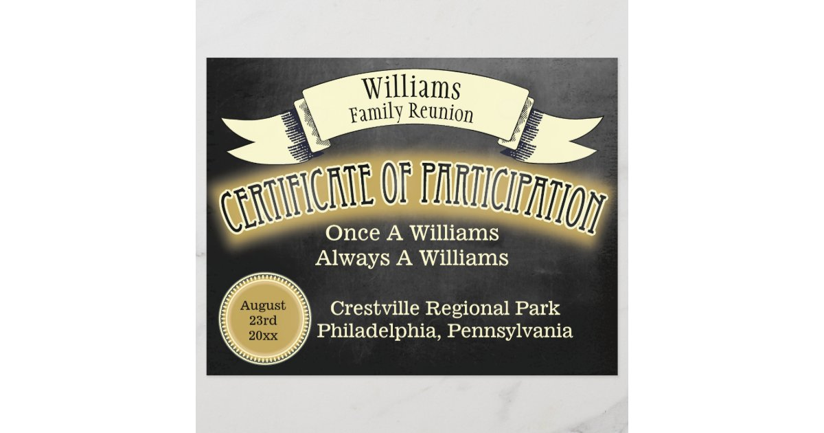 Family Reunion Certificate Of Participation Zazzle