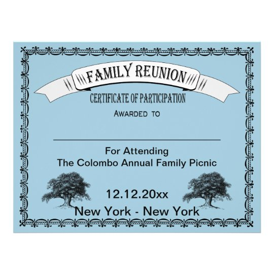 Family reunion certificate of participation flyer for Free family reunion certificates templates