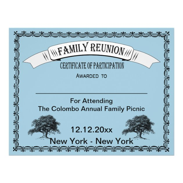 Family Reunion Certificate Of Participation Flyer  Family Reunion Flyer