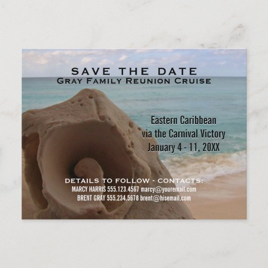 family reunion cruise save the date beach announcement postcard