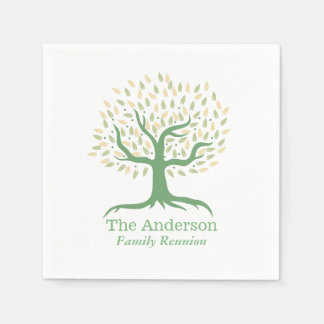 Family Reunion Family Tree Elegant Green Napkin