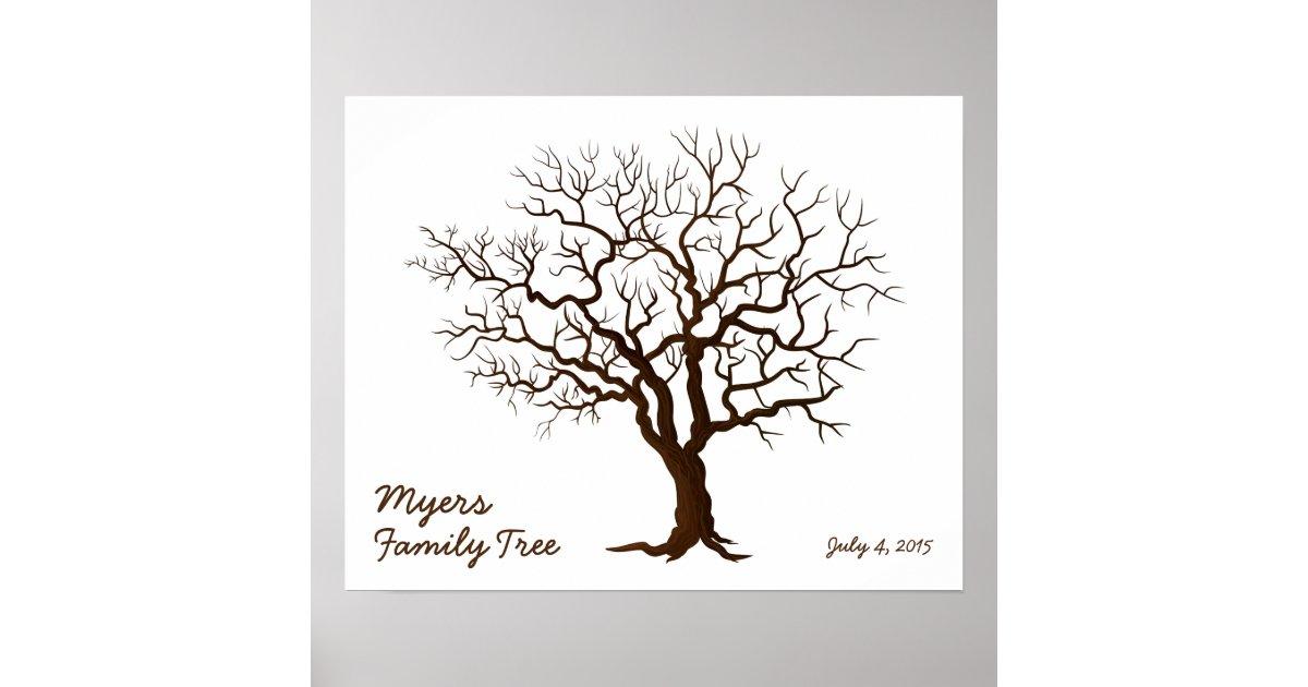 Family Reunion Finger Print Tree Matte Zazzle Com