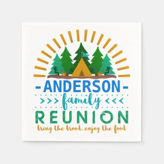 Family Reunion Funny Camping Party | Custom Name Paper Napkin